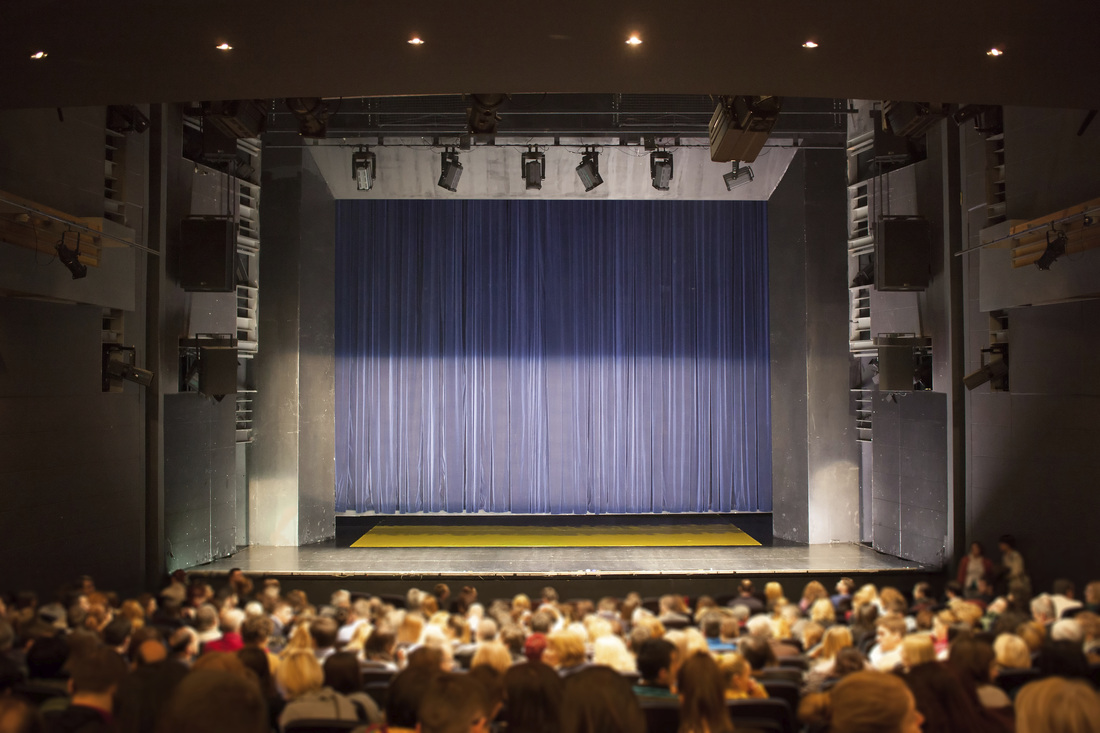 A phograph taking from the back balcony of a theater facing a proscenium stage. You can see many rows of the audience as well as the lighting elements out side the stage area.